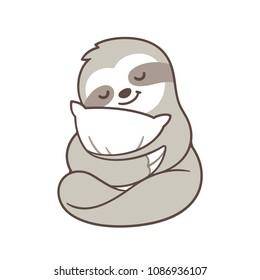 Cute sleepy baby sloth hugging pillow. Sleeping cartoon character drawing, isolated vector illustration.