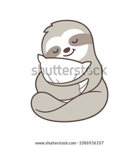 Cute Sleepy Baby Sloth Hugging Pillow Stock Vector