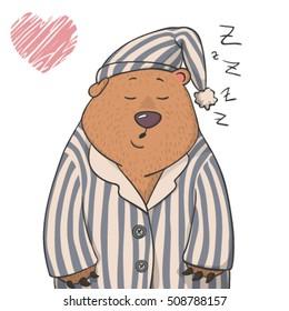 cute sleepy bear in a pajama isolated on white background. cartoon vector children's illustration
