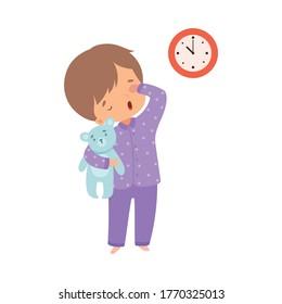 Cute Sleepy Boy Wearing Pajamas Standing with Teddy Bear, Preschool Kid Daily Routine Activity Cartoon Vector Illustration