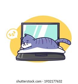 Cute Sleepy Cat Lay on Top of Laptop Illustration