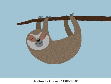 cute sleepy sloth hanging on tree branch vector illustration