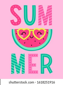 Cute sliced watermelon cartoon character illustration for summer holidays concept.