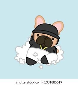 Cute Sliding Baseball Player, Fawn Coat French Bulldog Cartoon Vector Illustration