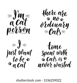 Cute slogans about cats. Handwritten textured sign for cat lovers. I'm a cat person. Lettering phrase for poster design, postcard, t-shirt print or mug print. Vector isolated illustration
