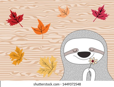 cute sloth animal  ,autumn background  concept  vector eps.10