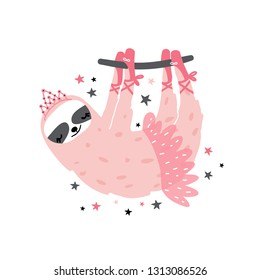 Cute sloth ballerina print. Great for kids apparel, nursery decoration. Vector Illustration