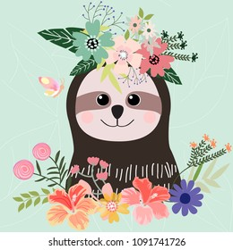 Cute sloth cartoon botanical art,illustration vector doodle comic pattern