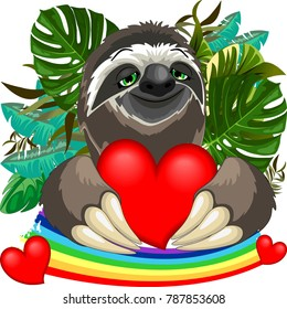 Cute Sloth Cartoon Character smiling and holding a big Red Heart, with a relaxed and happy expression on his face.