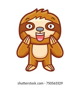 Cute Sloth character: surprised, astonished, admire, adorable, wonder, amazed emotions. Set of outline vector in hand drawn style, doodle cartoon illustration as logo, mascot, sticker, emoji, emoticon