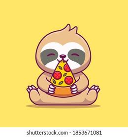 Cute Sloth Eating Pizza Cartoon Vector Icon Illustration. Animal Food Icon Concept Isolated Premium Vector. Flat Cartoon Style