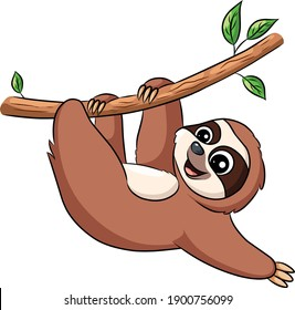 Cute Sloth hanging on a tree  cartoon illustration