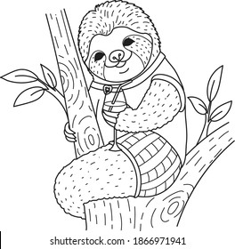 Cute sloth holding cocktail glass on the trees for coloring book, coloring page. Vector illustration
