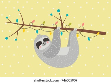 Cute sloth on the branch with garland. Vector illustration. Fun holiday poster.