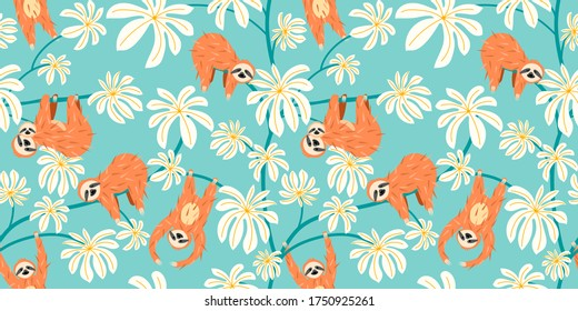 Cute sloth on floral tree pattern design. Seamless background funny lazy animal