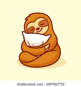 Cute sloth sleeping with pillow. Adorable cartoon character isolated vector illustration.