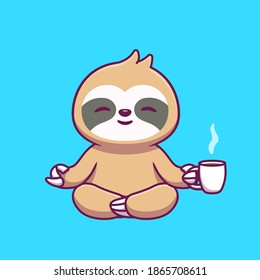 Cute Sloth Yoga Holding Coffee Cartoon Vector Icon Illustration. Animal Food And Drink Icon Concept Isolated Premium Vector. Flat Cartoon Style