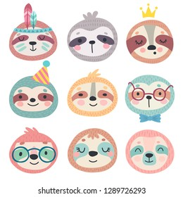 Cute sloths faces. Hand drawn characters. Vector illustration. Sweet funny sloths.