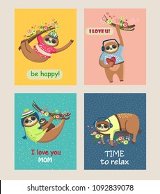 Cute sloths. greeting cards set