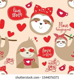 Valentine/'s Day Sloths Bell Bottoms Valentine/'s Day Sloths Ruffle Bell Bottoms