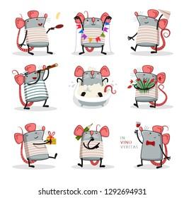 cute small animal rat mouse vector illustration flat design - Vector