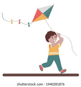Cute small boy playing with kite and smiling. Flat vector illustration.