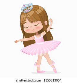 Cute Small Brown Hair Girl Ballerina Dance Isolated. Caucasian Ballet Dancer Baby Princess Character Jump Motion. Elegant Doll wear Pink Tutu Dress. Beautiful Kid Flat Cartoon Vector Illustration