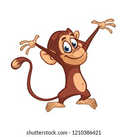 Cute small chimpanzee monkey rise hands. Cartoon illustration