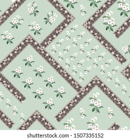 cute small flowers with bandanna pattern on green background