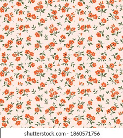 Cute small flowers floral pattern. Seamless vector pattern. Elegant template for fashion prints. Small orange flowers for print. Light pink background. Stock vector.