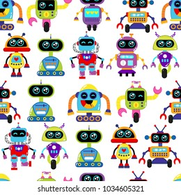 A cute, small, friendly blue with a red robot, with antennas and wires, kind vintage eyes and comic style inscriptions. Abstract seamless robot pattern for girls or boys. Creative robot vector pattern