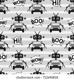 A cute, small, friendly robot, with antennas, good vintage eyes and graffiti-style inscriptions. The print is made in monochrome colors. Abstract seamless pattern for girls or boys. Creative vector