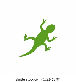 Cute small green chameleon with open mouth and long tongue lizard cartoon animal design flat vector illustration isolated on white background