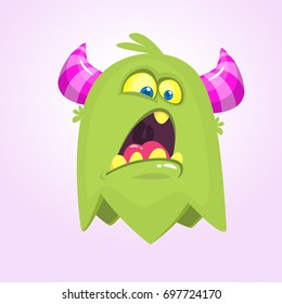 Cute small scared cartoon monster. Satisfied green  monster emotion. Halloween vector illustration. Monster logo