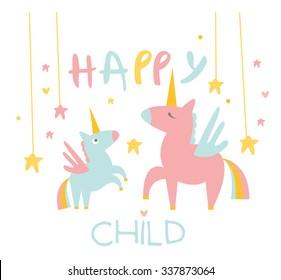 Cute Small Unicorn with Mom. Flat Vector Illustration.