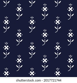 Cute small white flowers abstract line shapes geometric motif pattern continuous background. Simple geometric decor. Modern ditsy floral fabric design textile swatch ladies dress all over print block.