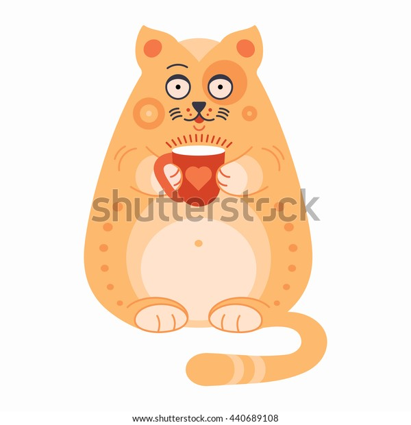 Cute smalling cartoon cat with cup of hot drink: coffee, tea or cocoa on white background. Rest and hard work concept. T-shirt graphics. Vector illustration.