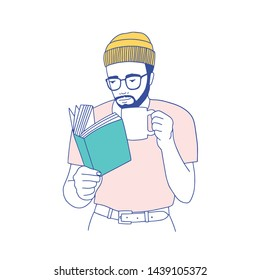 Cute smart bearded guy with glasses holding mug, drinking coffee and reading book. Portrait of thoughtful student or literature reader isolated on white background. Hand drawn vector illustration.