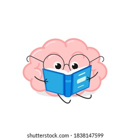 Cute smart cartoon brain in glasses reading a book. Vector flat illustration isolated on white background