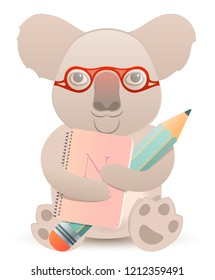 Cute Smart Coala with Notebook and Pencil