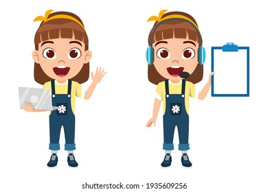 Cute smart kid girl character wearing beautiful yellow outfit and holding blank clipboard and laptop wearing headphone with cheerful facial expression