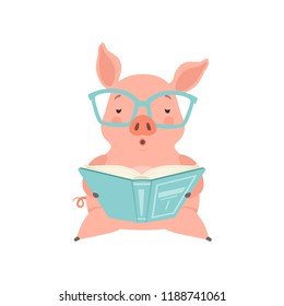 Cute smart little pig reading a book, funny piglet cartoon character vector Illustration on a white background