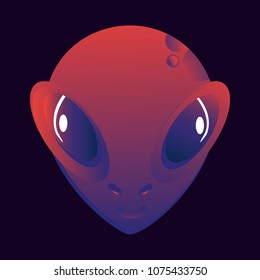 Cute, smile, funny face alien, strange, unfamiliar. Cosmic creature, space resident, science, super-minded, scientific research, living creature. Modern vector flat image design. Can be used as logo