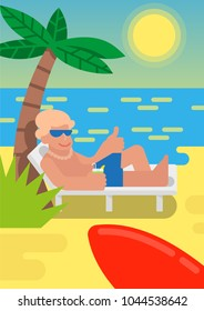 Cute smile sunburnt young man which relax and enjoy summer weather and hot sun outside in island good beach with gold sand near blue sea. He lie on the lounge with alcohol cocktail near red surfboard.
