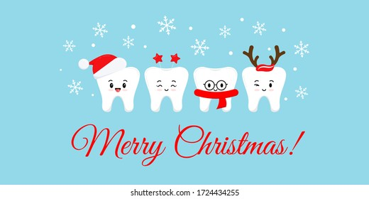 Cute smile teeth with xmas accessories on Merry Christmas dentist greeting card.  White winter teeth emoji in santa hat with deer horns photo props. Flat design cartoon style vector illustration.