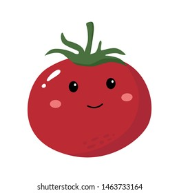 Cute Smiley Happy Tomato Vector Character Vegetable
