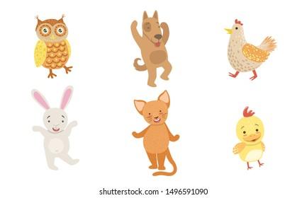 Cute Smiling Animals Set, Happy Owl, Dog, Hen,Chicken, Bunny, Cat Vector Illustration