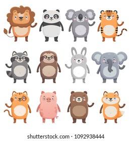 Cute smiling animals set. Lion, panda, koala, tiger, bear, pig, fox, sloth, raccoon, cat. Simple flat style, isolated vector  illustrations on white background