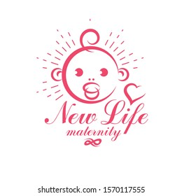 Cute smiling baby face vector emblem. Maternity and new life concept. Prenatal center and motherhood preparing clinic abstract emblem