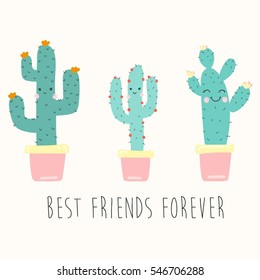 cute smiling cartoon cactuses with slogan